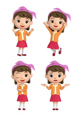 3D illustration character - The girl who put on a hair band and makes a pose.