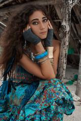 Atrractive young hippie woman portrait
