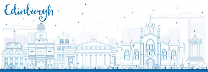Outline Edinburgh Skyline with Blue Buildings.