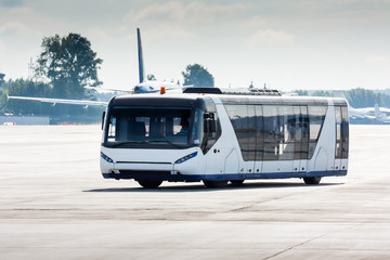 Airport bus on the apron