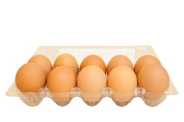 Eggs in transparent plastic box