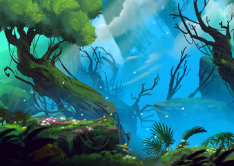 The Entrance of Mystery Valley in a Forest. Video Game's Digital CG Artwork, Concept Illustration, Realistic Cartoon Style Background