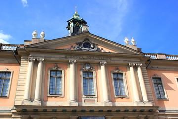 Fassade eines historischen Gebäudes in der Altstadt von Stockholm (Schweden)