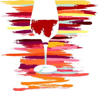 Vector glass of red wine with vibrant paint strokes texture