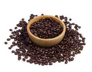 roasted coffee beans in wood bowl isolated on white background.