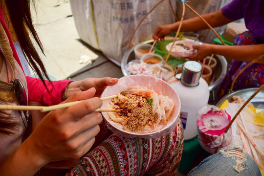 Local Myanmar Noodle, Local Food, Near the Road.