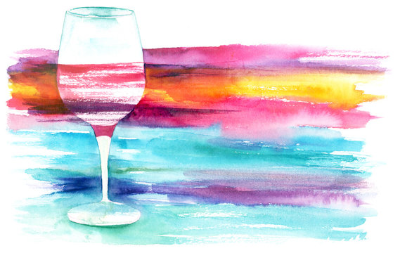 Watercolor glass of red wine with vibrant texture with copyspace