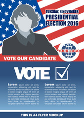 Usa 2016 election a4 flyer mockup with country map, vote checkbox and female candidate. Digital vector image