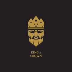 King logo. Royal logo. Luxury logo. King face logo. King and crown logo. Crown logo. King icon. King business logo. King fantasy logo. King emblem. King badge. Golden king logo