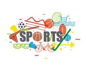 Set of different Sports equipments.