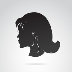 Woman head profile vector icon.
