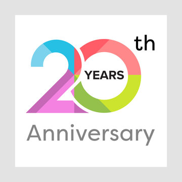 Template logo 20th anniversary with a circle, shape and colorful vector illustration