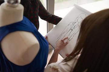 High angle view on fashion designers
