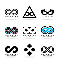 Set of various infinity symbols and logo design elements ()