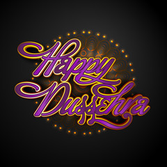 Glossy Text For Happy Dussehra celebration.