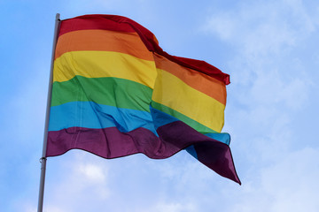 rainbow flag isolated on a white background, symbol of tolerance and acceptance, diversity, hope and longing