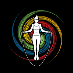Sport girl jumping rope designed on spin wheel background graphic vector.