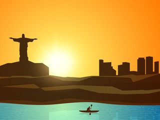 View of a city with Kayaker for Sports concept.