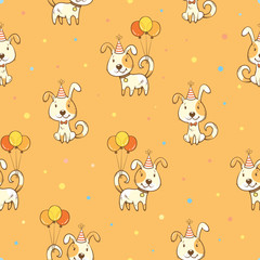 Birthday  seamless psttern with cute cartoon  dogs in party hats and balloons on orange background. Funny colorful animals. Little puppies. Vector contour image.