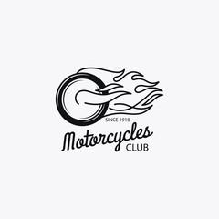 Motorcycle club mono color logotype or motorbike label. Vector illustration