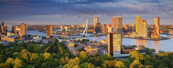 Foto auf AluDibond Rotterdam Rotterdam Panorama. Panoramic image of Rotterdam, Netherlands during summer sunset.