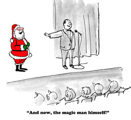 Christmas cartoon showing that Santa Claus is real, not a myth.