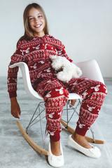 Child in winter pajamas
