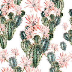 Watercolor pattern with cactus .