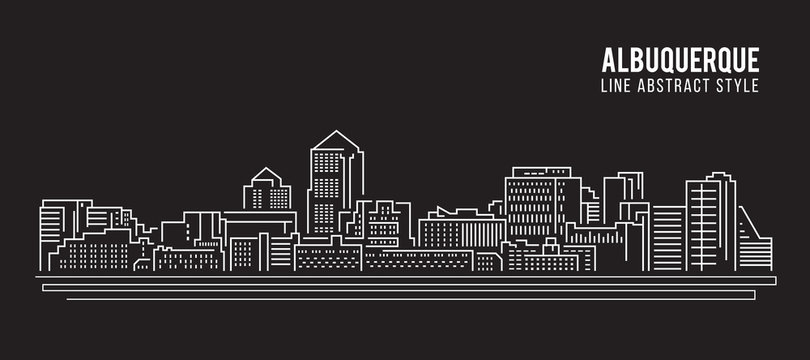 Cityscape Building Line art Vector Illustration design - Albuquerque city
