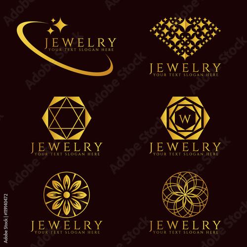 Gold Jewelry Diamond logo and flower logo vector set design