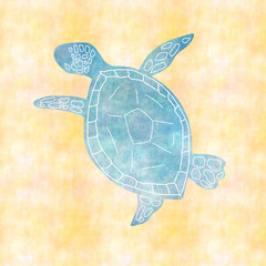 砂浜のウミガメ / おしゃれな手描き風イラスト