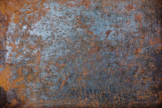 Steel walkway mats sprayed red rust.Iron surface rust