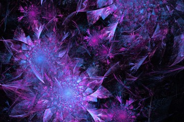fractal purple crystal flowers