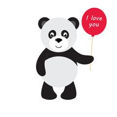 cartoon panda with balloon