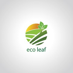 green eco leaf circle logo