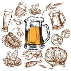 hand drawn sketch illustration beer collection
