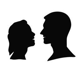silhouette of a man and a woman looking at each other. vector illustration
