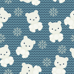 Polar bear and snowflakes over blue knitted background. Seamless
