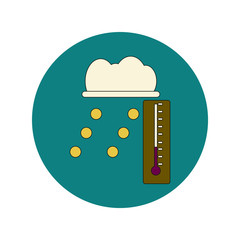 Vector illustration in flat design of hail and thermometer