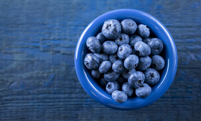 Blueberries in blue bowl