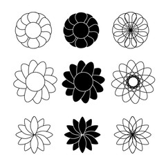 Flower black and white vector