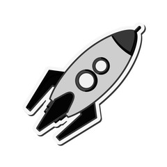 flat design toy rocket icon vector illustration