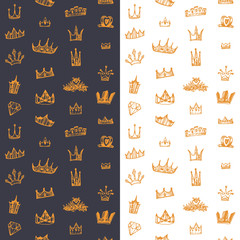 Retro Seamless background with drawing sketch crowns set. Vintage endless pattern with princess king crowns collection. Hand drawn doodle vector illustration.
