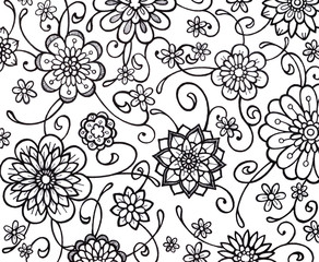 black and white flower marker art with fancy curls curves and swirls. floral wallpaper pattern with abstract hand drawn flowers in random doodle.