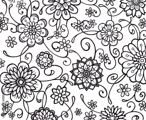 Hand painted watercolor and flower design floral background with hand painted watercolor and flower design floral background with copyspace hand drawn flowers are sketched with black markers flower doodle border mightylinksfo Image collections