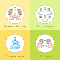 Set of vector linear icons with types of massage. Ayurvedic massage illustration. Logo for Thai massage. Classic massage concept. Stone massage emblem.