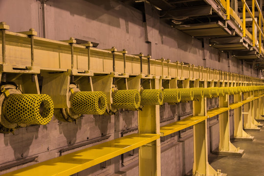 Yellow guard of steel roller shaft for safety in factory