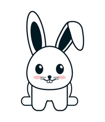 flat design Cute rabbit cartoon vector illustration