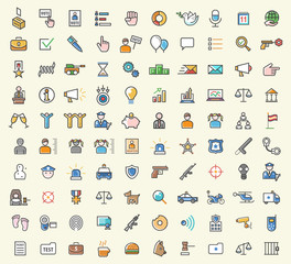 Set of 100 Minimalistic Solid Line Colored Political and Police Icons. Isolated Vector Elements.