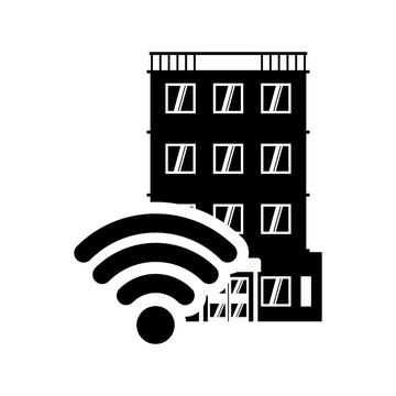 wifi hotel building windows service silhouette icon. Flat and Isolated design. Vector illustration